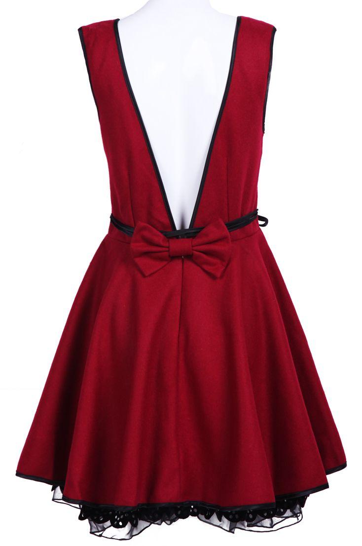Red Sleeveless Backless Bow Belt Dress