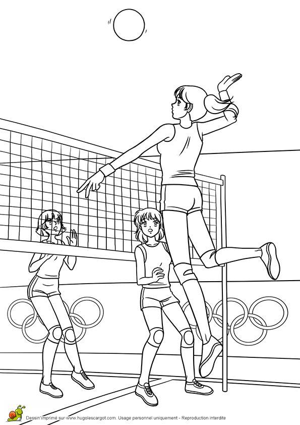 Coloriage de joueuses de volley ball - Hugolescargot com coloriage ...