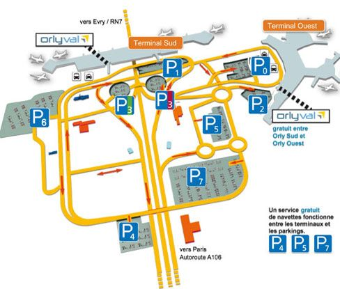 Inter-terminal shuttles at Paris-Orly airport. Before arriving at the airport, consult the different shuttle services, available free of charge, for transfers between terminals in the public area.