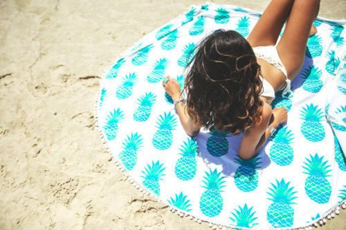 Pineapple Pattern Round Picnic Blanket Beach Towel