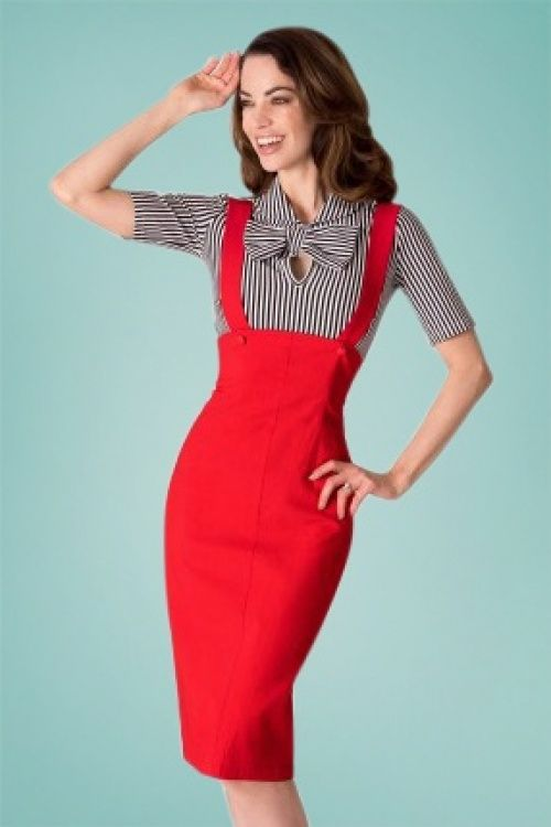 001177e8c 50s Jumper Pencil Skirt in Red | Dressmania | Dungaree skirt, Skirts ...