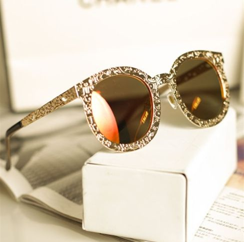 2014 new SUper Luxury Vintage Hollow Out Metal Brand Designer Big Round Fashion sun glasses sunglasses oculos de sol n195-in Sunglasses from...