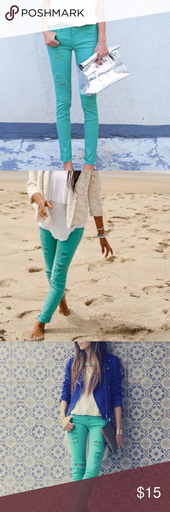 PacSun aqua jeans Aqua distressed jeans PacSun Jeans Skinny