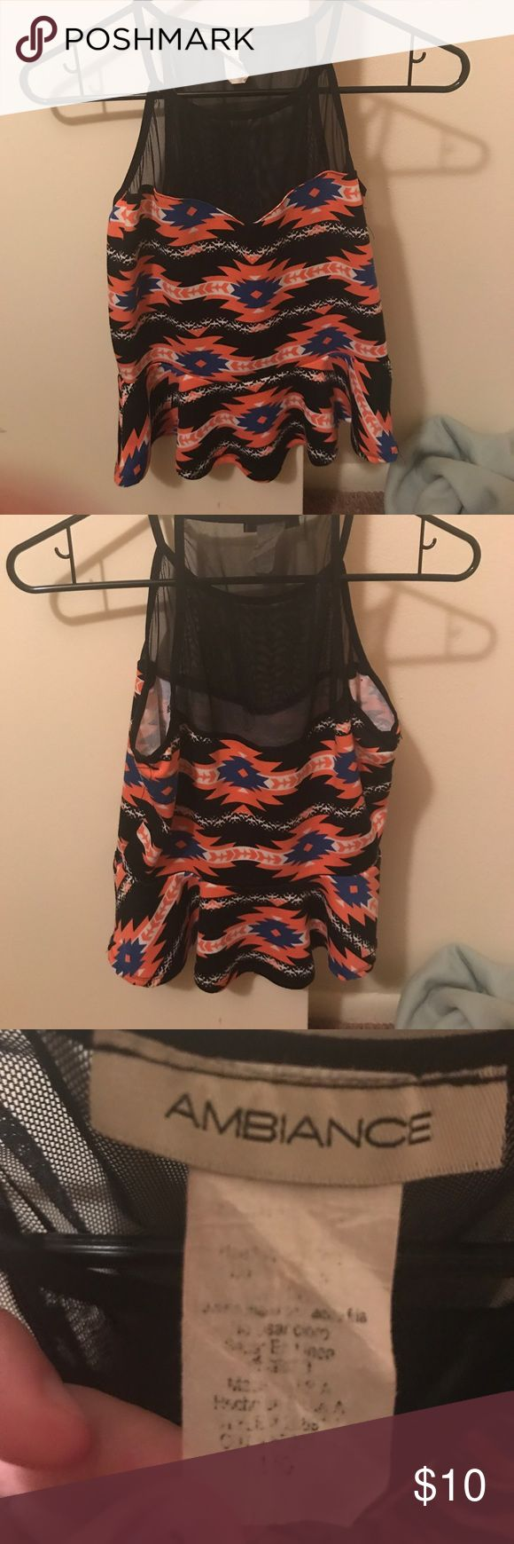 Orange and black Tribal top Cute top. The tag is a little worn but the shirt is in great condition. Ambiance Apparel Tops Tank Tops