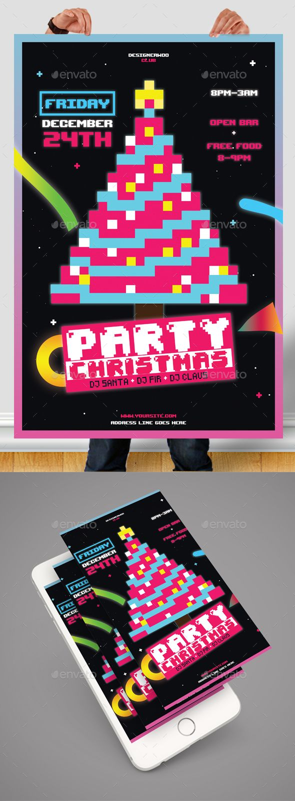 Christmas Poster — Photoshop PSD #fresh #event • Download ➝ https://graphicriver.net/item/christmas-poster/18865040?ref=pxcr