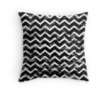 black and white distressed chevron pattern pillow