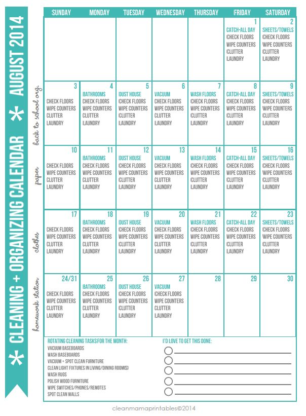 Hello, August! Implement this awesome cleaning routine with this FREE printable! Cleaning + Organizing Calendar for AUGUST via Clean Mama