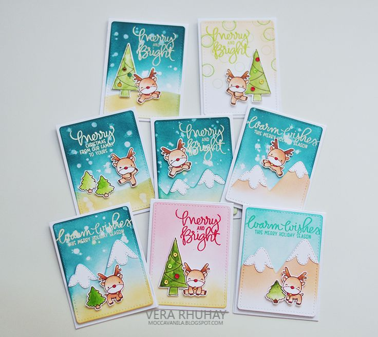 """Holiday Mini Cards w Mama Elephant """"Reindeer Games"""" Reindeer are colored w #copic markers & the others with Watercolor. Background created by blending dye ink pad & then heat embossed sentiment w embossing powder. (12.27.15) [on wc2 + christmas2)"""