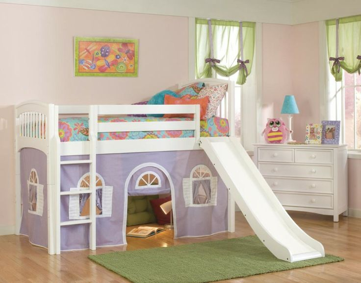 Vivacious Kids Loft Bed In Violet With Wooden Flooring Completed With Slide Decoration In White Color Design Ideas