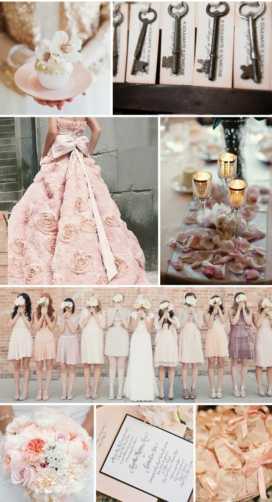 Blush Wedding...I LOVE LOVE LOVE this except I don't really like colored dresses...