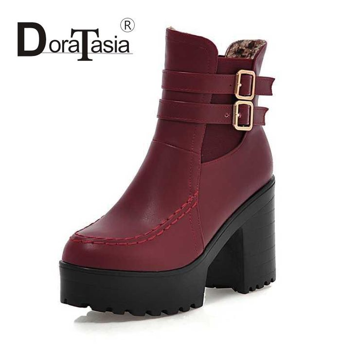 Plus Size 34-43 Concise High Thick Heels Ladies Shoes Fashion Black Ridding Boots Casual Solid Ankle Boots For Woman With Buckle