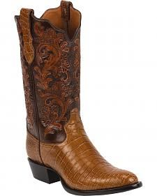 Tony Lama Brandy Hand-Tooled Signature Series Nile Crocodile Western Boots - Round Toe