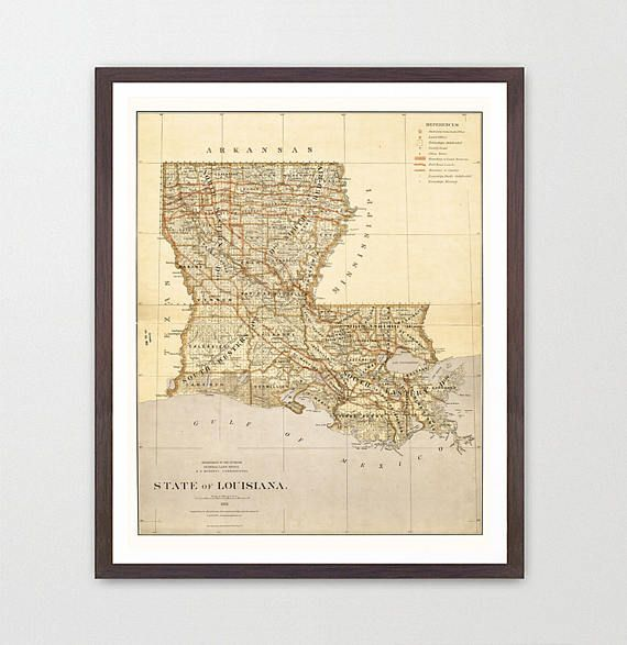 Louisiana Map  Louisiana Map Art  Map Decor  New Orleans