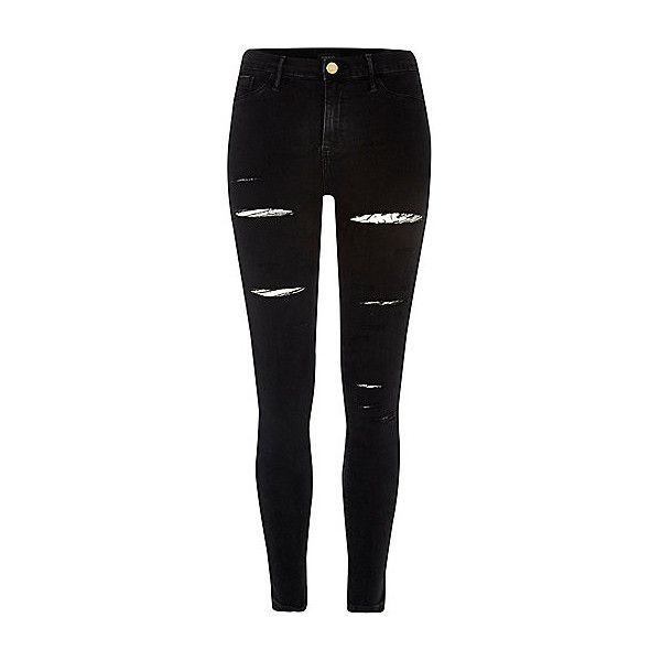 Black ripped Molly jeggings ❤ liked on Polyvore featuring pants, leggings, skinny jeggings, skinny pants, destroyed jeggings, denim jean leggings and denim leggings