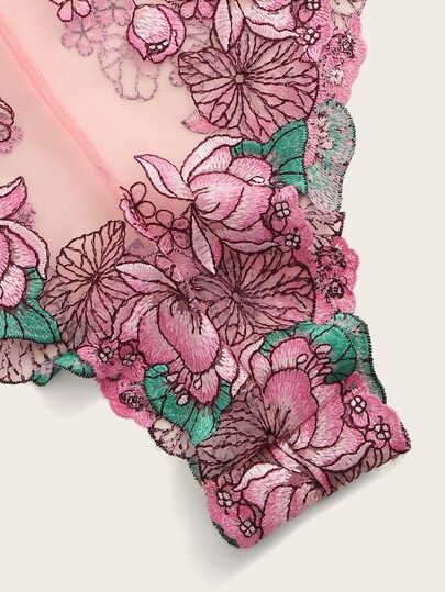 Floral Embroidered Knot Sheer Teddy Bodysuit 2