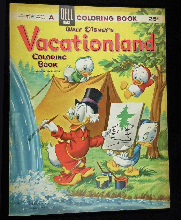 Vintage 1955 Dell Walt Disneys VACATIONLAND Coloring Book Unused