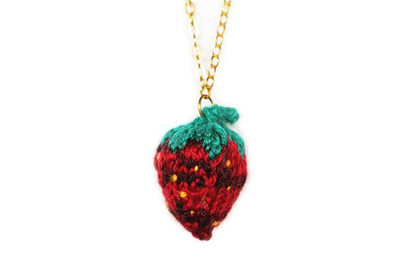 Knitted Strawberry Necklace by blessyourcottonsocks on Etsy, $25.00