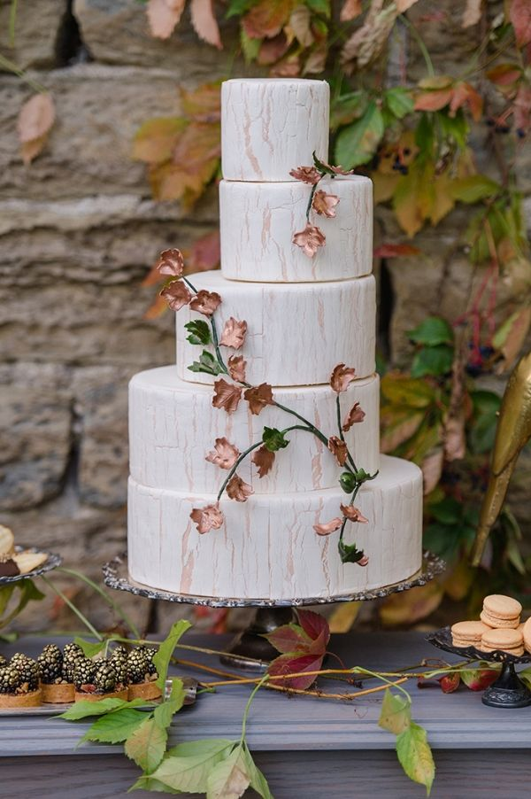 Off Set Wedding Cake with Metallic Leaves