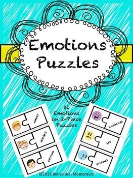 This product includes 21, 2-piece puzzles, depicting realistic and smiley face facial expressions.  Simply laminate, cut, and have students pair the facial expression with the associated emotion.Emotions included:EmbarrassedExcitedFrustratedJealousPleasedSickSurprisedTiredWorriedAngryNervousCryingProudScaredHappyLaughingSadStaringSilly ConfusedSmiling