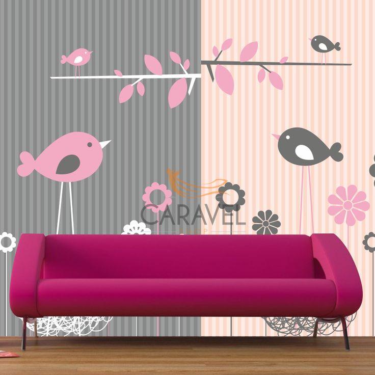 Παιδική Ταπετσαρία τοίχου με ροζ και γκρι πουλάκια