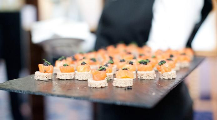Canapé With Salmon, Crabmeat And Caviar