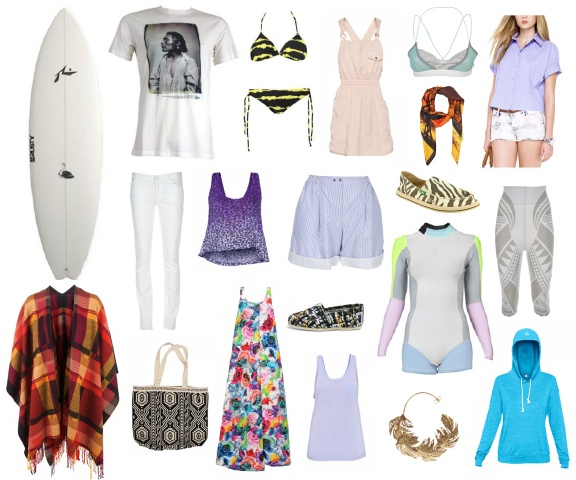 From Left to Right  Rusty Piranha Hybrid Surfboard  Etro Poncho Shawl  Sitka Portrait T-shirt  Goldsign Misfit Jean  TNA Taj Bag  Talula Drew Tank in washed leopard  Jil Sander Maxi Dress in flower print  Roxy Surfari Bikini  Toms Classic Shoes in women faces  Carven Pinstripe Short  T.Babaton Ace Tank in garlic flower  Wilfred Alexa Dress in petale  Roxy Cynthia Rowley Wetsuit  Alex Monroe Leaf Earings in gold  Sanuk Shoes in zebra   Juma Scarf in branches  Bedford Street Laundry Scandal…