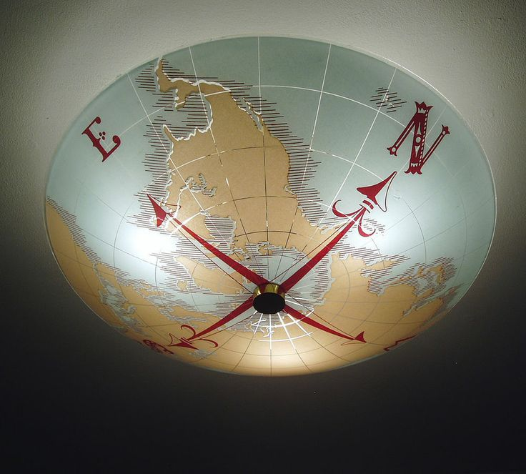 Vintage Nautical World Map Compass Ceiling Light Fixture