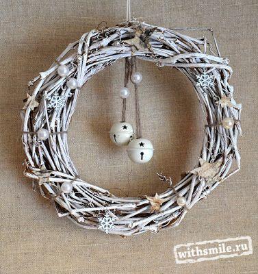 Christmas wreath. Easy and Elegant DIY Christmas decor. White Primitive Christmas Front Door Wreath. Рождественский, Новогодний венок на дверь своими руками. Подарок на праздник.