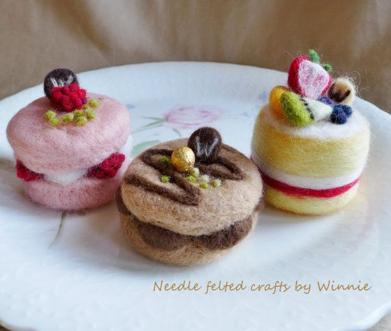 Needle felted dessert macarons & cake each sold by FunFeltByWinnie, $30.00