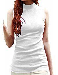 New LIREROJE Womens Solid Plain Cotton Mock Turtle Neck Tank Top online. Find the perfect Notations Tops-Tees from top store. Sku ONIK95657GIYK34966