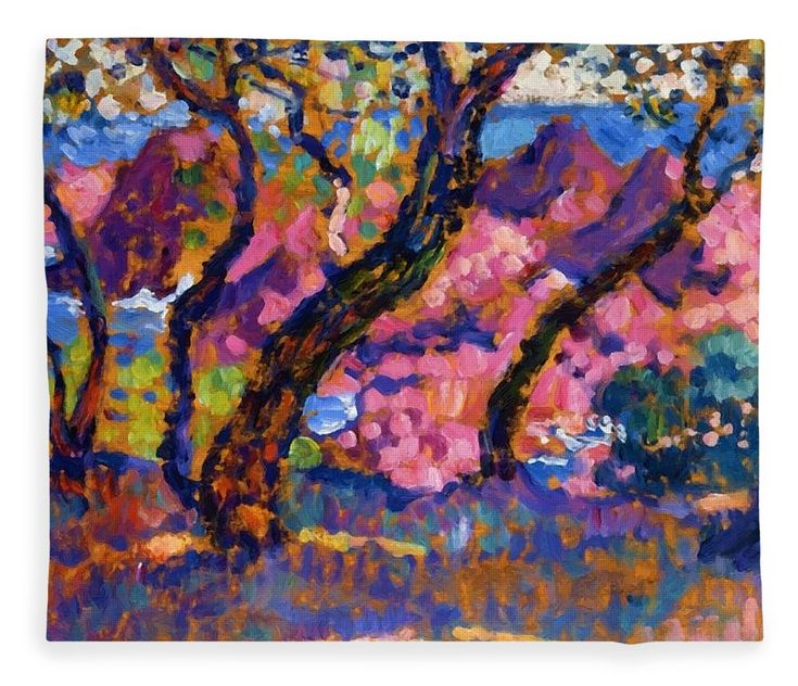 In Fleece Blanket featuring the painting In The Shade Of The Pines Study 1905 by Rysselberghe Theo van