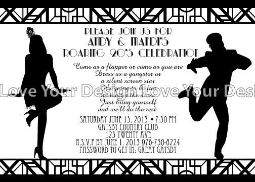 65 best images about Roaring 20s – Great Gatsby Party Invitation