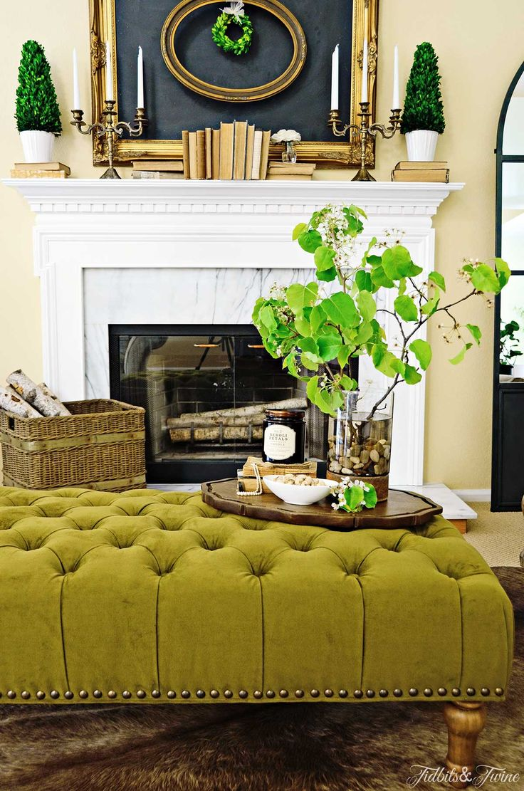How To Create A Coffee Table Vignette. Tufted Ottoman ...