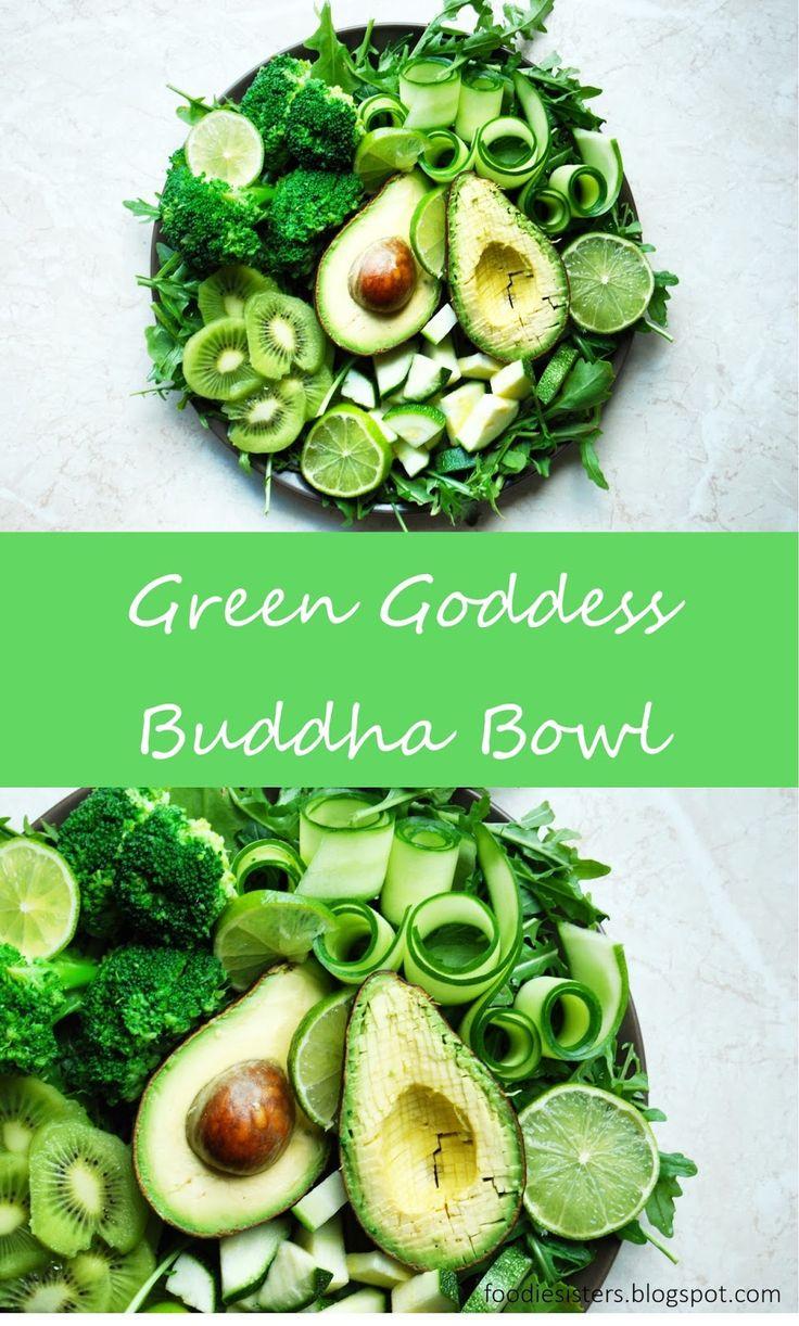 Green buddha bowl recipe. Healthy and easy lunch recipe. Raw salad with avocado, arugula, broccoli, kiwi, lime