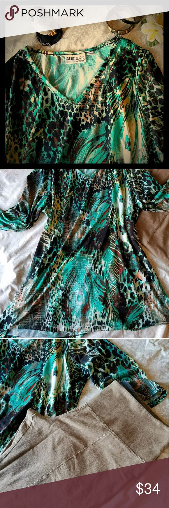 """Tropical Tunic/Pant 2- piece Set 🎉Pre-loved Poly/spandex 'Attitudes by Renee' tunic is 23"""" pit to pit, 29""""length. Wears well and flows nicely. Great condition.  🎄  Crop pants are Cotton/spandex 'Women with Control' size LP with nice stretch. 17"""" flat no-roll band. 22.5"""" inseam. Some piling can be removed, but are ready to wear. Very nice second skin fit to them. Tan color. Thanks for the visit! Attitudes by Renee Pants Ankle & Cropped"""