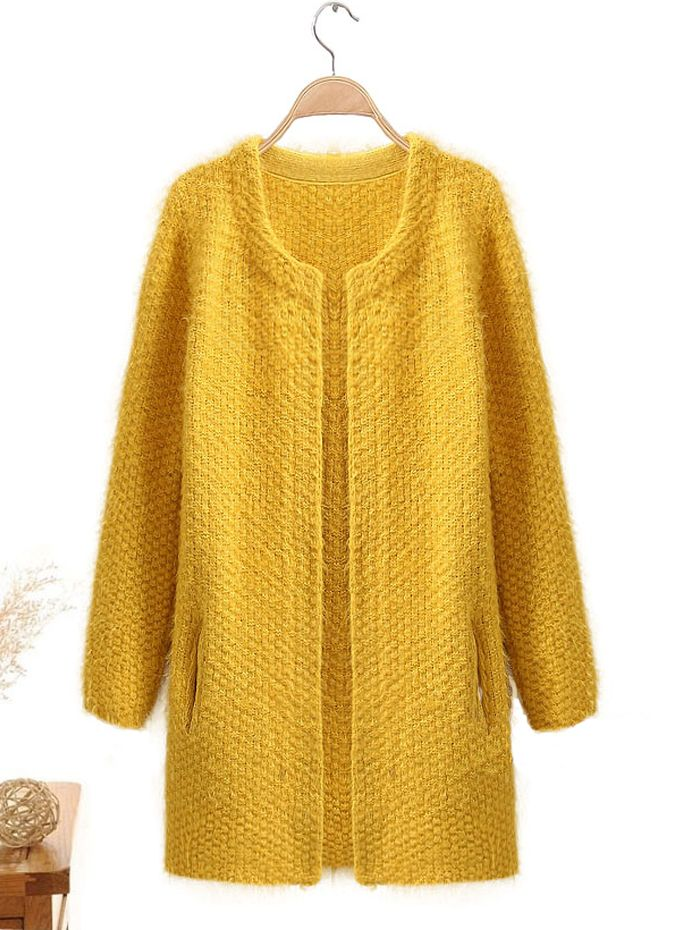 """Knit+cardigan+with+all-over+fluffy+details,+round+neckline,+long+sleeves+style,+open+front+with+twin+vertical+patch+pockets+to+front,+long+length+cut,+thick+and+heavy,+available+in+one+size+only,+not+one+size+fits+all. Length:+29.52""""-30.70"""" Sleeve:+22.04"""" Shoulder:+15.35"""" 1""""+difference+is..."""