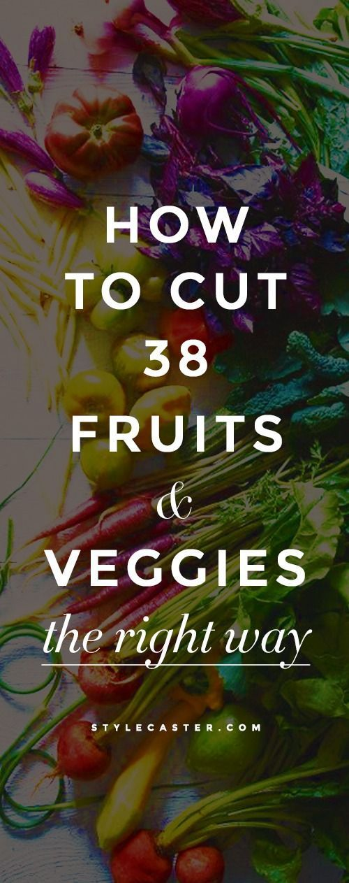 Cooking 101: How to Cut 38 Fruits & Vegetables the Right Way - A handy video guide with cool shortcuts, pro tips from top chef's, and hacks that will even cut your cooking time down! http://stylecaster.com/how-to-cut-vegetables-and-fruit-the-right-way/