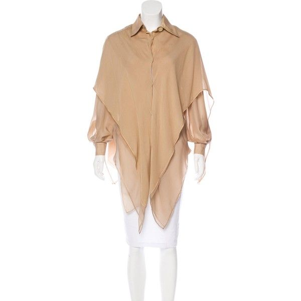 Pre-owned Gianfranco Ferre Silk Cape Top ($145) ❤ liked on Polyvore featuring tops, brown, brown long sleeve top, brown silk top, beige silk top, long sleeve tops and gianfranco ferré