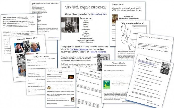 Free Homeschool Lessons: Civil Rights Movement Printables Packet | Free Homeschool Deals ©