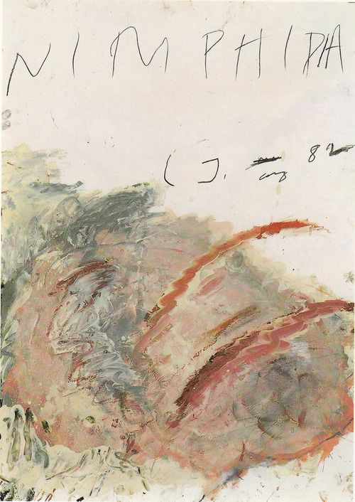 1982 'Nimphidia', by (aka Cy Twombly) Edwin Parker Twombly Jr. (1928~2011) was an American painter of large-scale, sculptor and photographer.