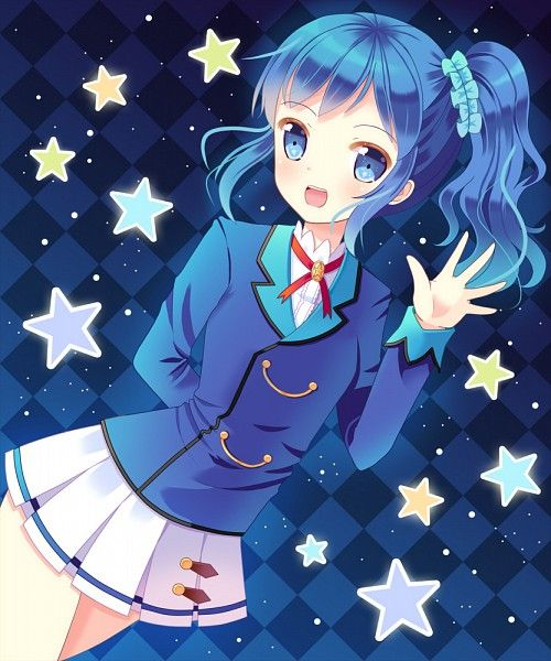 Tags: Anime, Hazakura Satsuki, Aikatsu!, Kiriya Aoi, Red Ribbon, Diamond Background, Dutch Angle