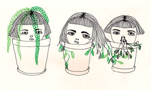 drawing girls cute green flowers plants artists on tumblr plant heads