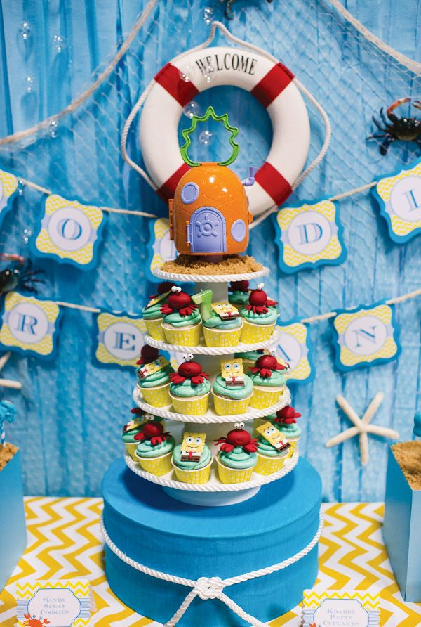Spongebob Squarepants Birthday Party: Love the cupcake tower and background