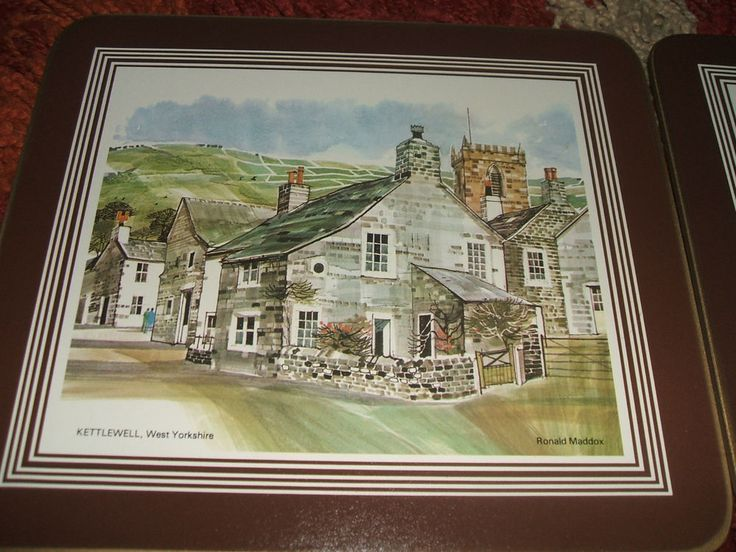 Six Vintage Cork PLACEMATS Traditional English Village Scenes Shabby Chic Table #Art #Shabby Chic #Vintage