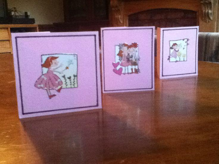 Three cute little fairy girl cards