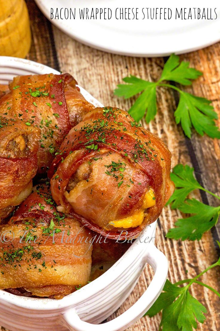 How much better can a meatball get? Stuffed with sharp cheddar cheese and wrapped in yummy bacon! Very easy to make.
