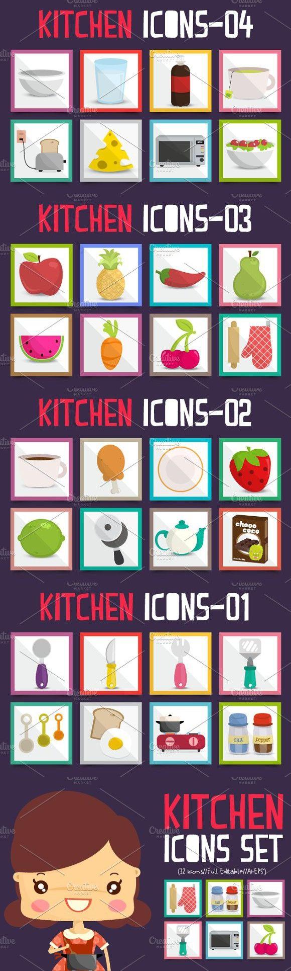 Kitchen Icons Set #icons #kitchen