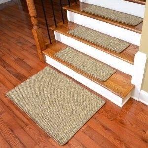 Dean Non-Skid Sisal Carpet Stair Treads - Desert - Set of 13 Plus Mat transitional-rugs