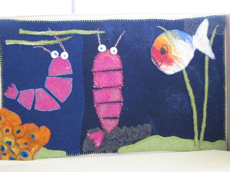 Felted painting of a picturebook 'Little white fish' from Guido van Genechten, made by Marjo Lelie