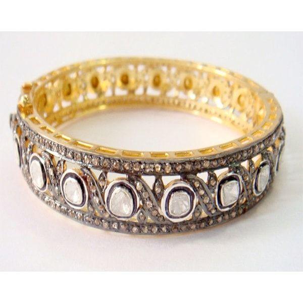 Polki Rose Cut Diamond Silver Bracelet
